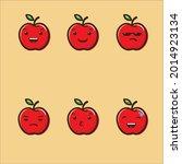 cute apple emoticon vector...   Shutterstock .eps vector #2014923134