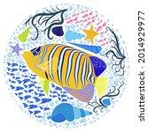 emperor angelfish pomacanthus... | Shutterstock .eps vector #2014929977