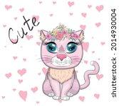 cute cartoon pink cat  kitten... | Shutterstock .eps vector #2014930004