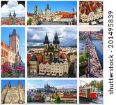 collage of landmarks of prague. ... | Shutterstock . vector #201495839
