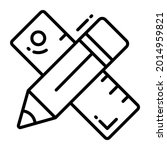 pencil and ruler trendy icon ...