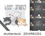 cute animal baby kitten and...   Shutterstock .eps vector #2014981331