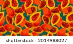 exotic red fruit cutaway on...   Shutterstock .eps vector #2014988027