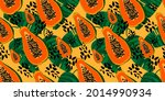 exotic orange papaya fruit in...   Shutterstock .eps vector #2014990934
