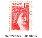 Old red french stamp - stock photo