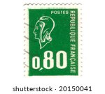 Old green french stamp - stock photo