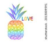 pineapple fruit heart rainbow...   Shutterstock .eps vector #2015009591