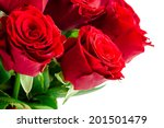 Bouquet Of Bright Red Roses On...