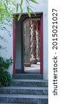 Old Chinese Garden Doorway Red...
