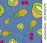 naturally drawn fruits seamless ... | Shutterstock .eps vector #2015043194