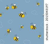 bee cute seamless pattern... | Shutterstock .eps vector #2015043197