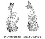 set of human skeleton hand with ...   Shutterstock .eps vector #2015043491