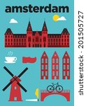 Amsterdam City Icons Poster...
