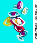 3d eyes icon. colorful stylized ... | Shutterstock .eps vector #2015089484