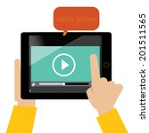tablet with video player on the ...   Shutterstock .eps vector #201511565