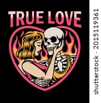 skull cuddles with beautiful...   Shutterstock .eps vector #2015119361