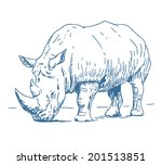 Rhino Sketch Drawing Isolated...