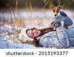 young woman in winter jumper...   Shutterstock . vector #2015193377