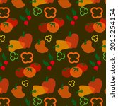 vegetable pattern multicolor... | Shutterstock .eps vector #2015254154
