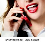 Sexy businesswoman teacher student woman girl mouth red lipstick lipgloss makeup talking on the phone - stock photo