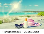 Sun Lotion  Sunglasses And Hat