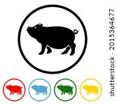 pig icon with color variations. ...   Shutterstock .eps vector #2015364677