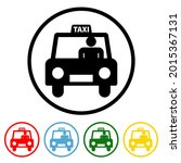 taxi flat icon with color...   Shutterstock .eps vector #2015367131