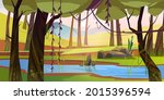 cartoon forest background with... | Shutterstock .eps vector #2015396594