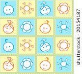 Baby stitches seamless pattern in pastel colors - stock vector