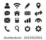 web icon set. 16 black icons on ...