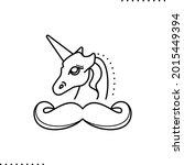 a unicorn head and mustache ... | Shutterstock .eps vector #2015449394