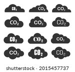 co2 cloud icon shape set.... | Shutterstock .eps vector #2015457737