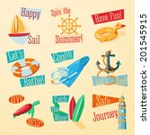 set of cute bright summer icons ... | Shutterstock .eps vector #201545915