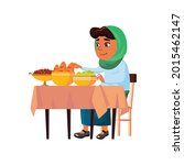 Hungry Arabic Lady Devouring...