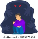 fear of darkness concept. man... | Shutterstock .eps vector #2015471504