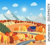 autumn nature landscape concept ...   Shutterstock .eps vector #2015496374