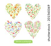 set of floral compositions.... | Shutterstock .eps vector #201560369