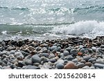Pebble Shore And Sea Edge With...