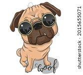 cool cartoon pug dog with sun...   Shutterstock . vector #2015655071