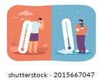 men in cold and hot weather... | Shutterstock .eps vector #2015667047