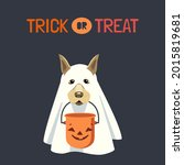 dog in ghost costume with... | Shutterstock .eps vector #2015819681