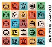 faces icon set | Shutterstock .eps vector #201590555