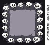 cartoon skulls square frame. in ... | Shutterstock .eps vector #201594035