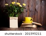 Yellow Roses In Pot  Tea Cup...