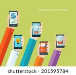 mobile applications concept.... | Shutterstock .eps vector #201595784