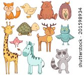 cute baby animals set collection | Shutterstock . vector #201598934
