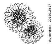 black line two sunflowers on... | Shutterstock .eps vector #2016015617