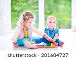 two little children  brother... | Shutterstock . vector #201604727