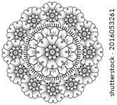 mehndi flower decorative...   Shutterstock .eps vector #2016053261