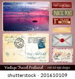travel vintage postcard design... | Shutterstock .eps vector #201610109